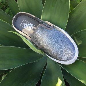 VANS silver leather snake embossed slip on sneaker